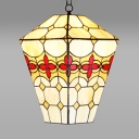 Floral Theme Pendant Light 1 Light Rustic Stained Glass Hanging Lamp in Beige for Balcony