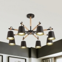 Contemporary Bucket Chandelier 8 Lights Wood Hanging Light in Black/Green/White for Kindergarten
