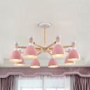 3/6/8 Lights Dome Pendant Light Macaron Loft Wood Chandelier in Gray/Green/Pink for Living Room