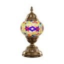 Oval Shade Bedroom Table Light Stained Glass One Light Moroccan Mosaic Desk Lamp in Brass