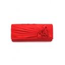 Hot Fashion Solid Color Floral Ruffle Embellished Evening Clutch Bag for Wedding 25*5*10 CM