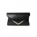 Trendy Solid Color Snakeskin Pattern Black PU Leather Evening Clutch Envelope Bag 22.4*5.3*13.2 CM