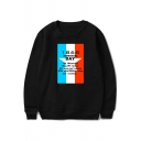 Memorial Day Simple Letter Printed Basic Round Neck Long Sleeve Pullover Sweatshirt