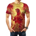 Popular King of the Monsters Roaring Animal Print Short Sleeve Red Slim T-Shirt
