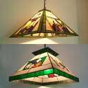 Shop Poker Hanging Light with Craftsman Shade Stained Glass 1 Head Green Pendant Light