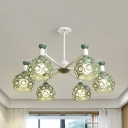 Hollow Sphere Shade Chandelier 5/6/8 Lights Nordic Style Metal Pendant Lamp for Villa Hotel
