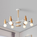 Modern Style Open Bulb Chandelier 6/8 Lights Metal Hanging Light in Beige for Living Room