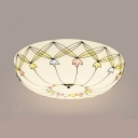Glass Indented Bowl Ceiling Mount Light Living Room Tiffany Style Flush Light in White