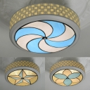 Glass Flower/Star/Windmill Flush Mount Light Kid Bedroom Contemporary Ceiling Light