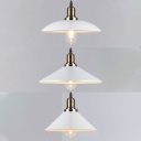 Antique Style White Pendant Lamp with Shade One Light Metal Suspension Light for Cloth Shop