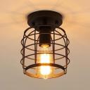 Metal Birdcage Flush Mount Light Hallway Bathroom 1 Light Industrial Ceiling Lamp in Black