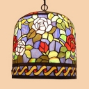 Floral Theme Foyer Ceiling Light Stained Glass 10 Inch Tiffany Style Suspension Light