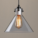 Clear Glass Funnel Hanging Light Foyer 1 Light Antique Style Ceiling Pendant with Black Canopy