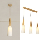 Opal Glass Conical Hanging Light 1/3 Lights Nordic Style Suspension Light in White for Bedroom