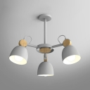 Macaron Loft Domed Chandelier 3/6/8 Lights Metal Suspension Light in Blue/Coffee/Gray for Villa