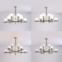 Clear/Cream Glass Orb Chandelier 10/12 Lights Modern Stylish Pendant Lamp in Gold for Villa Hotel