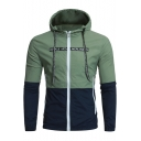 Mens New Stylish Simple Letter Printed Color Block Long Sleeve Zip Up Fitted Hooded Anorak Jacket Coat