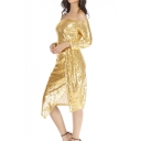 Womens Sexy Off the Shoulder Long Sleeve Split Front Midi Sheath Sequined Evening Dress
