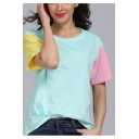 Summer Chic Color Block Short Sleeve Round Neck Casual Loose Cotton Tee