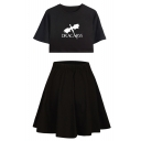 DRACARYS Dragon Pattern Round Neck Short Sleeve Crop Tee with A-Line Skirt Two-Piece Set