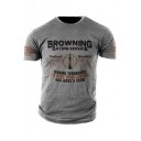 BROWNING DATING SERVICE Graphic Printed Short Sleeve Casual Grey T-Shirt