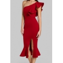 Summer Trendy One Shoulder Chic Ruffled Hem Simple Plain Split Front Midi Bodycon Fishtail Dress