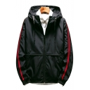 Mens Chic Simple Letter Embroidery Back Striped Long Sleeve Sport Zip Up Track Jacket Coat