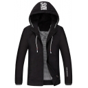 Mens Cool Simple Letter SO Hooded Long Sleeve Zipper Placket Casual Sport Jacket Coat