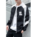 Simple Letter Pattern Color Block Long Sleeve Zip Up Sun Protection Lightweight Hooded Coat Jacket
