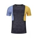 Summer Fashion Colorblock Round Neck Short Sleeve Slim Fit Grey T-Shirt