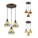 Tiffany Traditional Domed Hanging Light 3 Lights Glass Ceiling Pendant in Aged Brass for Cafe