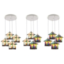 Tiffany Grid House Pendant Light 4 Lights Stained Glass Ceiling Pendant for Dining Table