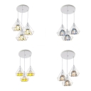White Diamond Cage Pendant Light 3 Lights Tiffany Style Metal Hanging Lamp for Restaurant