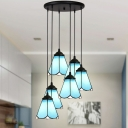 Cone Shade Hotel Suspension Light Glass 4/5/6 Lights Tiffany Simple Style Pendant Light in Blue/White
