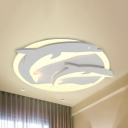 Animal Dolphin Ceiling Mount Light Acrylic LED Ceiling Lamp in Warm/White for Kindergarten