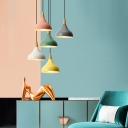 Contemporary Onion Shade Hanging Light Single Light Metal Candy Colored Ceiling Pendant for Foyer