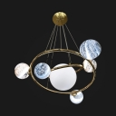 Gold Circle Suspension Light with Sphere Shade 7 Lights Creative Glass Metal Chandelier for Cafe