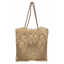 Women's Fashion Solid Color Embroidered Floral Hollow Beach Bag Lace Tote Bag 33*36*8 CM