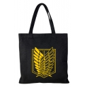 Popular Feather Badge Print Black School Shoulder Bag Tote Shopper Bag 35*33 CM