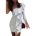 Hot Fashion One Shoulder Long Sleeve Ruffled Hem Vertical Striped Print Mini White Bodycon Dress