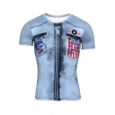 Funny Cool 3D Fake Zipper Denim Pattern Basic Short Sleeve Blue T-Shirt