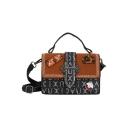Trendy Printed Patchwork Metal Skull Embellishment Crossbody Satchel Bag 20*14*10 CM