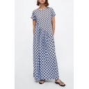 Summer Trendy Blue Polka Dot Printed Round Neck Short Sleeve Pleated Maxi Dress