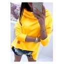 Womens Popular Yellow Plain Cowl Neck Long Sleeve High Low Hem Hoodie