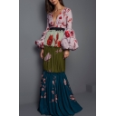 Designer Unique Fashion Floral Printed Sexy Plunging V-Neck Puff Long Sleeve Maxi A-Line Pleated Dress