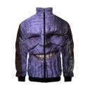 Cool 3D Figure Smile Face Printed Stand Collar Long Sleeve Zip Up Jacket