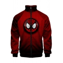 Cool Spider Printed Comic Cosplay Costume Stand Collar Long Sleeve Zip Front Red Jacket