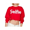 Cool Simple Letter SELFIE Printed Crewneck Long Sleeve Cropped Red Casual Sweatshirt