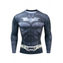 Mens Cool 3D Comic Cosplay Costume Round Neck Long Sleeve Running Fitness Grey Tight T-Shirt