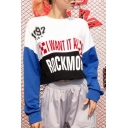 Girls Cool Letter I WANT IT ALL ROCK MORE Colorblocked Round Neck Long Sleeve Cropped Sweatshirt